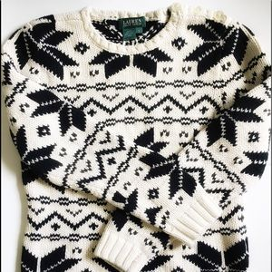 💕Ralph Lauren Women Knit Snowflakes Sweater